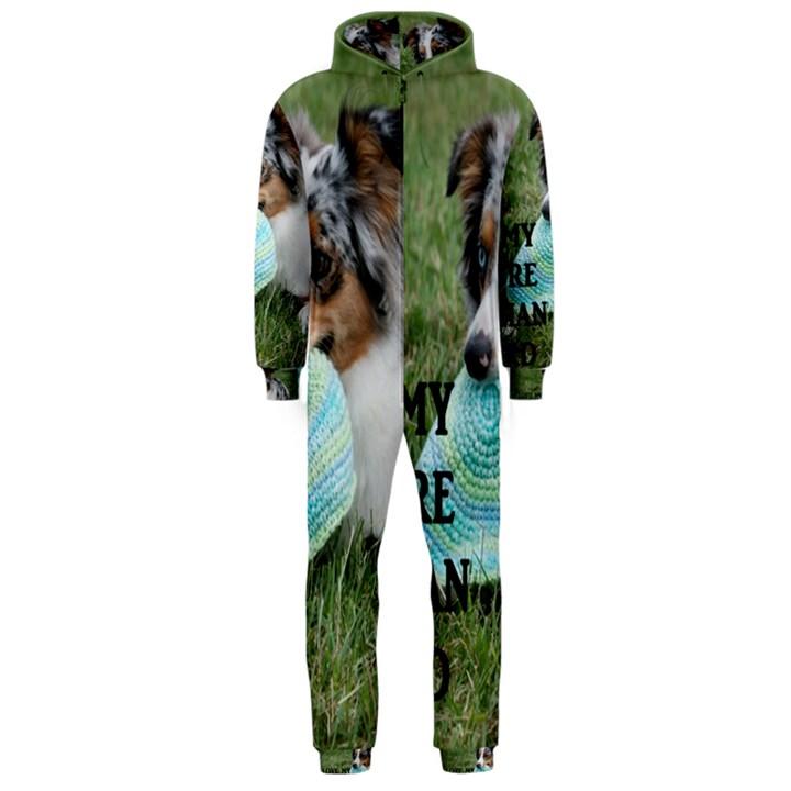 Blue Merle Miniature American Shepherd Love W Pic Hooded Jumpsuit (Men)