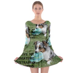 Blue Merle Miniature American Shepherd Love W Pic Long Sleeve Skater Dress