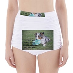 Blue Merle Miniature American Shepherd Love W Pic High-Waisted Bikini Bottoms
