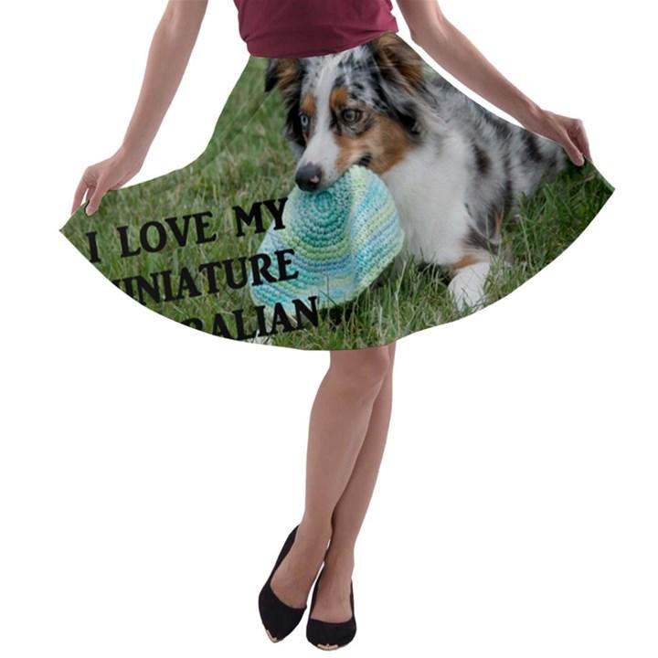 Blue Merle Miniature American Shepherd Love W Pic A-line Skater Skirt
