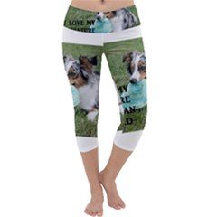 Blue Merle Miniature American Shepherd Love W Pic Capri Yoga Leggings