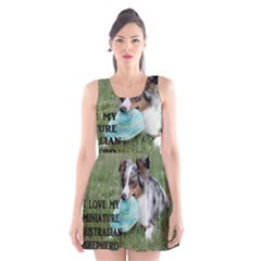 Blue Merle Miniature American Shepherd Love W Pic Scoop Neck Skater Dress