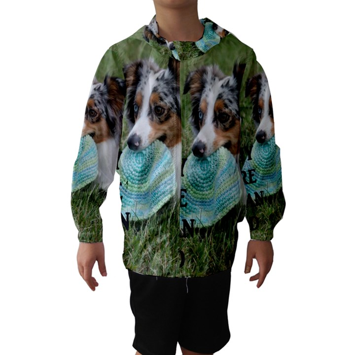 Blue Merle Miniature American Shepherd Love W Pic Hooded Wind Breaker (Kids)