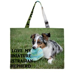 Blue Merle Miniature American Shepherd Love W Pic Large Tote Bag