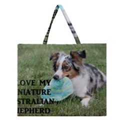 Blue Merle Miniature American Shepherd Love W Pic Zipper Large Tote Bag