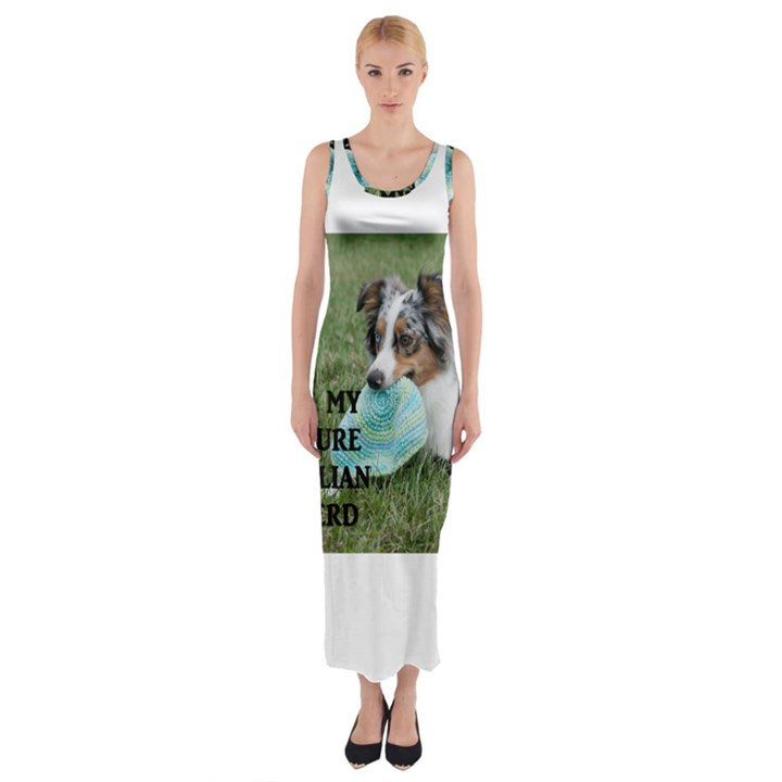 Blue Merle Miniature American Shepherd Love W Pic Fitted Maxi Dress
