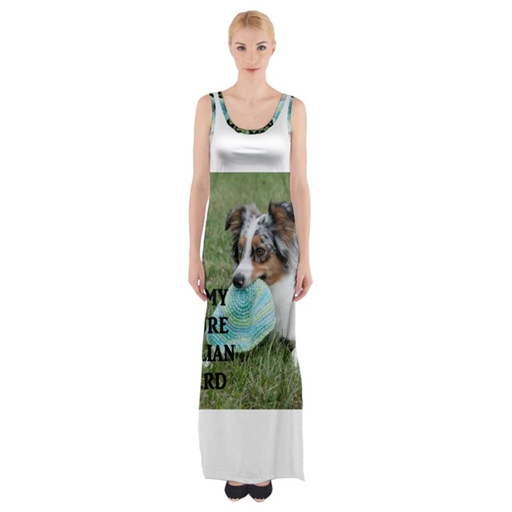 Blue Merle Miniature American Shepherd Love W Pic Maxi Thigh Split Dress