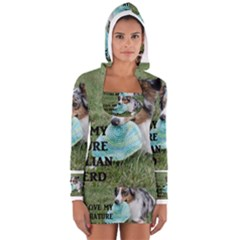 Blue Merle Miniature American Shepherd Love W Pic Women s Long Sleeve Hooded T-shirt