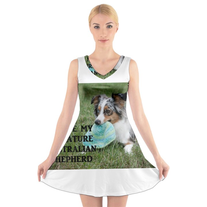 Blue Merle Miniature American Shepherd Love W Pic V-Neck Sleeveless Skater Dress