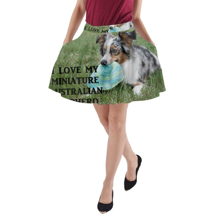 Blue Merle Miniature American Shepherd Love W Pic A-Line Pocket Skirt