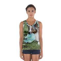 Blue Merle Miniature American Shepherd Love W Pic Women s Sport Tank Top