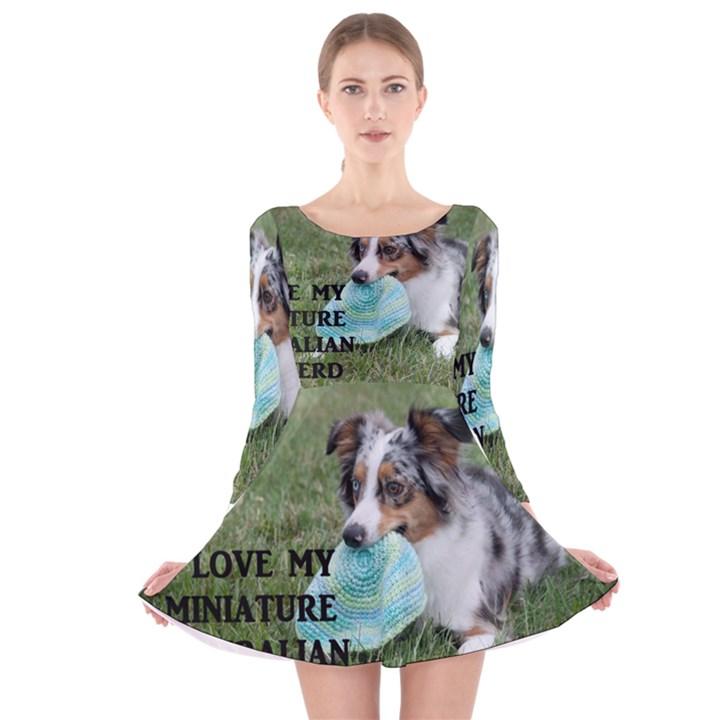 Blue Merle Miniature American Shepherd Love W Pic Long Sleeve Velvet Skater Dress