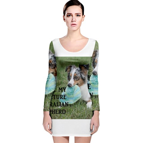 Blue Merle Miniature American Shepherd Love W Pic Long Sleeve Velvet Bodycon Dress