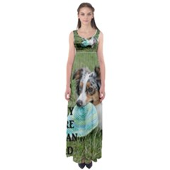 Blue Merle Miniature American Shepherd Love W Pic Empire Waist Maxi Dress