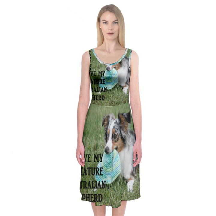 Blue Merle Miniature American Shepherd Love W Pic Midi Sleeveless Dress