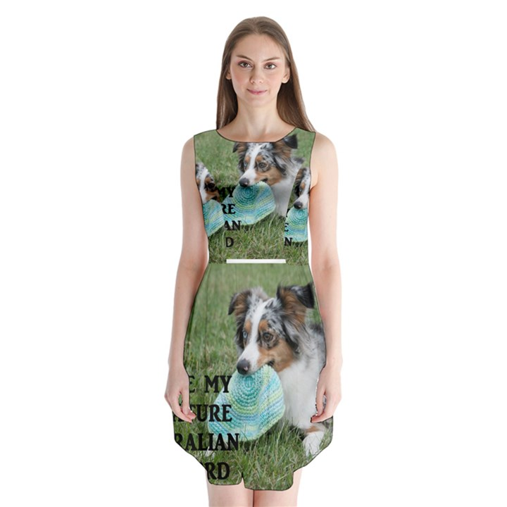 Blue Merle Miniature American Shepherd Love W Pic Sleeveless Chiffon Dress