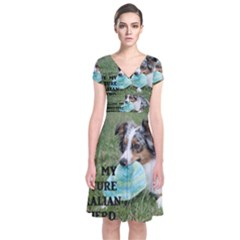Blue Merle Miniature American Shepherd Love W Pic Short Sleeve Front Wrap Dress