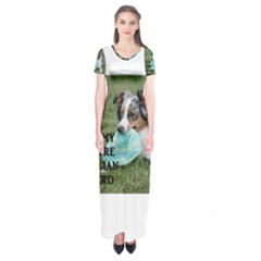 Blue Merle Miniature American Shepherd Love W Pic Short Sleeve Maxi Dress