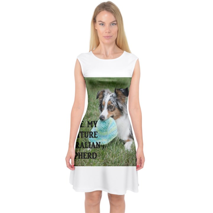 Blue Merle Miniature American Shepherd Love W Pic Capsleeve Midi Dress