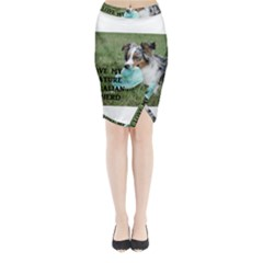 Blue Merle Miniature American Shepherd Love W Pic Midi Wrap Pencil Skirt