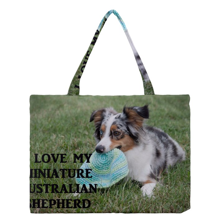 Blue Merle Miniature American Shepherd Love W Pic Medium Tote Bag