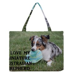 Blue Merle Miniature American Shepherd Love W Pic Medium Zipper Tote Bag