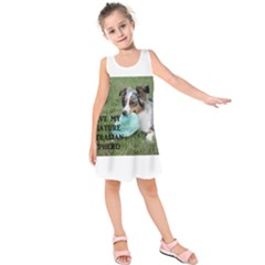 Blue Merle Miniature American Shepherd Love W Pic Kids  Sleeveless Dress