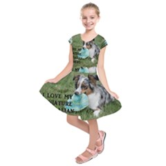 Blue Merle Miniature American Shepherd Love W Pic Kids  Short Sleeve Dress