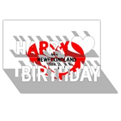 My Newfie Loves Me Happy Birthday 3D Greeting Card (8x4)