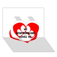 My Newfie Loves Me Heart 3D Greeting Card (7x5)