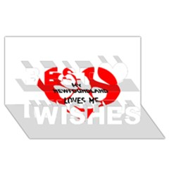 My Newfie Loves Me Best Wish 3D Greeting Card (8x4)