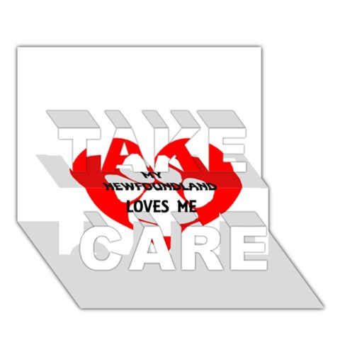 My Newfie Loves Me TAKE CARE 3D Greeting Card (7x5)