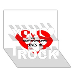 My Newfie Loves Me You Rock 3D Greeting Card (7x5)