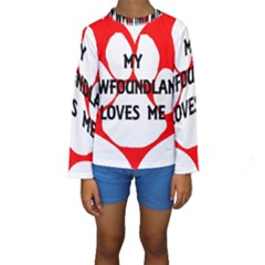 My Newfie Loves Me Kids  Long Sleeve Swimwear