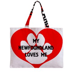 My Newfie Loves Me Zipper Mini Tote Bag