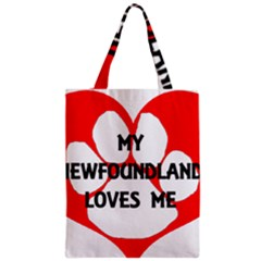My Newfie Loves Me Zipper Classic Tote Bag