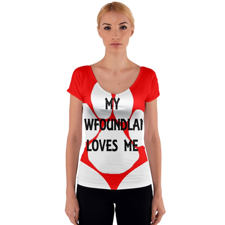 My Newfie Loves Me Women s V-Neck Cap Sleeve Top