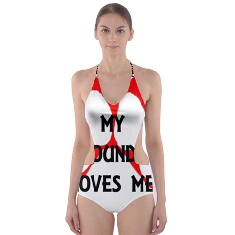 My Newfie Loves Me Cut-Out One Piece Swimsuit