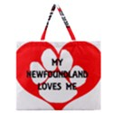 My Newfie Loves Me Zipper Large Tote Bag View1