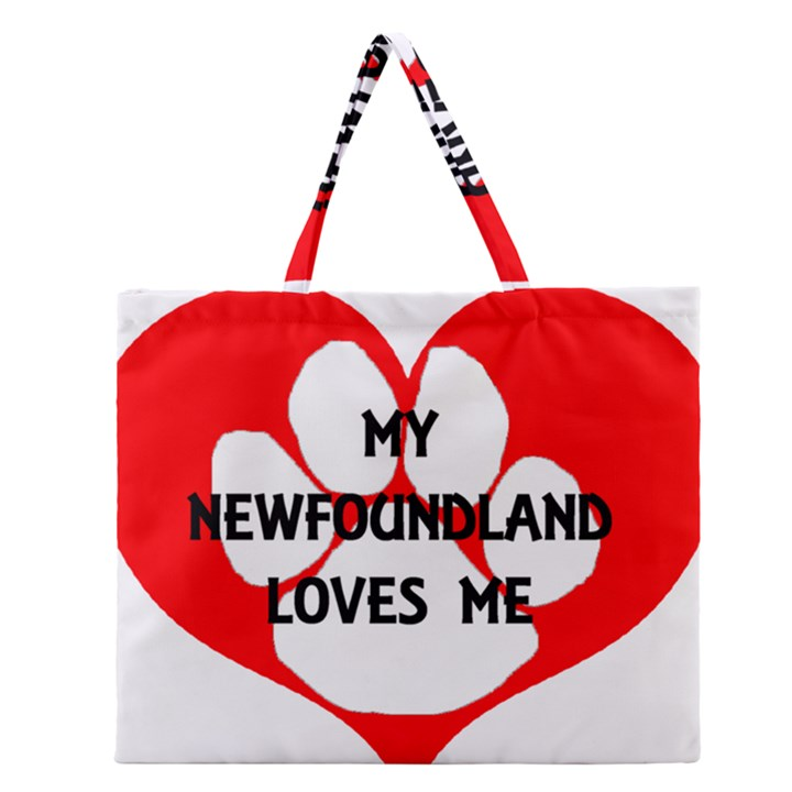 My Newfie Loves Me Zipper Large Tote Bag