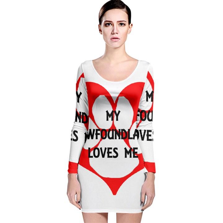 My Newfie Loves Me Long Sleeve Velvet Bodycon Dress