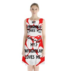 My Newfie Loves Me Sleeveless Chiffon Waist Tie Dress