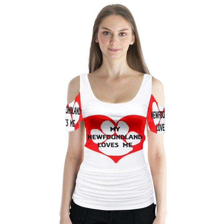 My Newfie Loves Me Butterfly Sleeve Cutout Tee