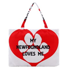 My Newfie Loves Me Medium Zipper Tote Bag