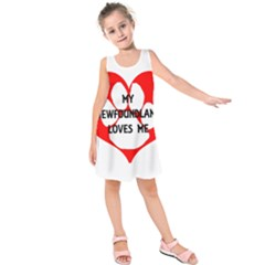 My Newfie Loves Me Kids  Sleeveless Dress