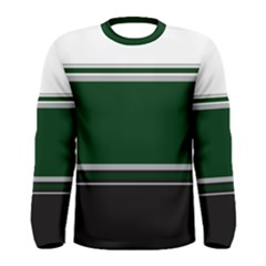Black, Green and White Blocks Men s Long Sleeve Tee