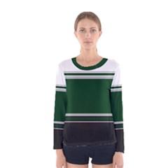 Black, Green and White Blocks Women s Long Sleeve Tee