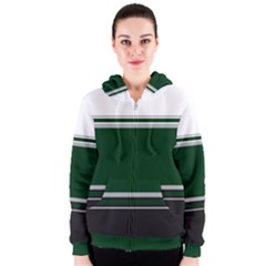 Black, Green and White Blocks Women s Zipper Hoodie