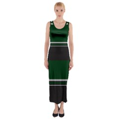 Black, Green and White Blocks Fitted Maxi Dress