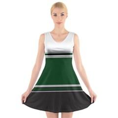 Black, Green and White Blocks V-Neck Sleeveless Skater Dress